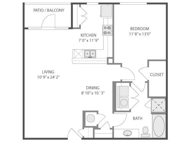 912 sq. ft. Belle Meade/A5 floor plan
