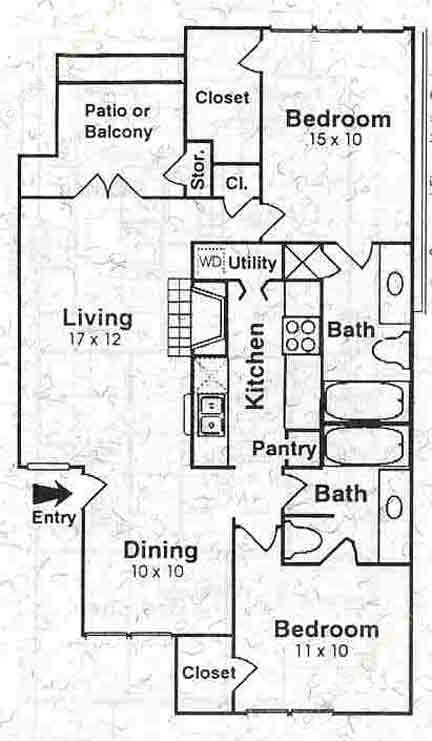1,067 sq. ft. to 1,097 sq. ft. B2 floor plan
