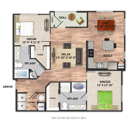 1,320 sq. ft. B2.1 floor plan