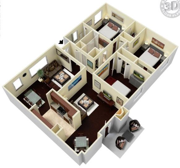 1,467 sq. ft. CD floor plan