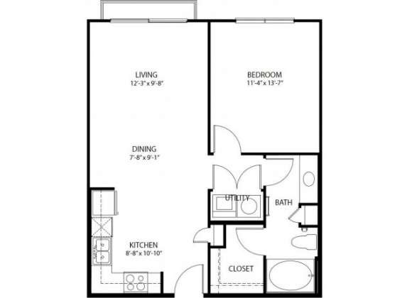 711 sq. ft. A1-C PH3 floor plan