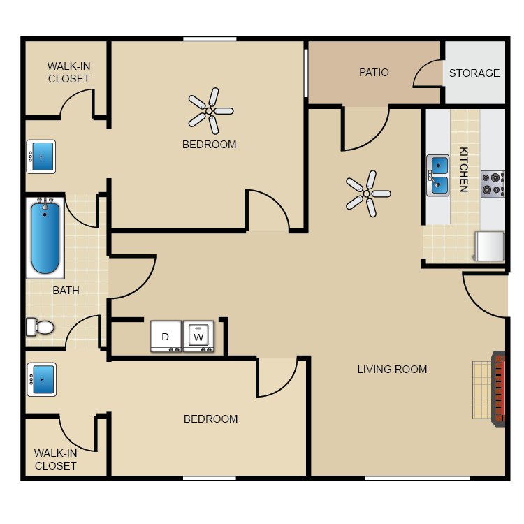887 sq. ft. B floor plan