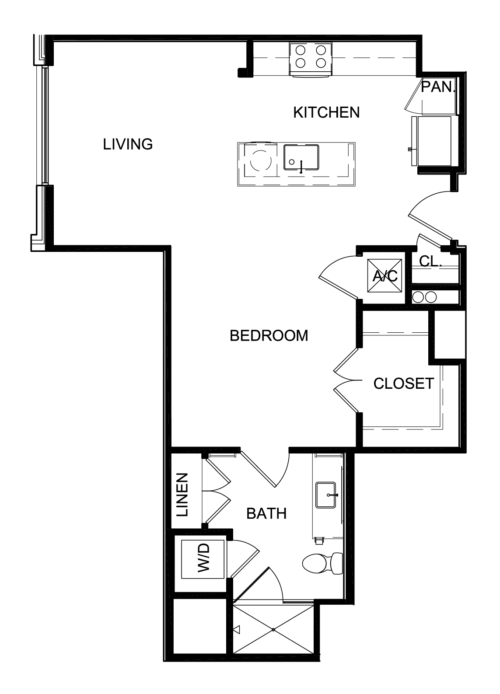714 sq. ft. A2 floor plan
