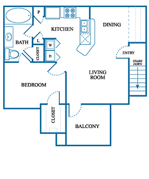 769 sq. ft. A2/UP floor plan