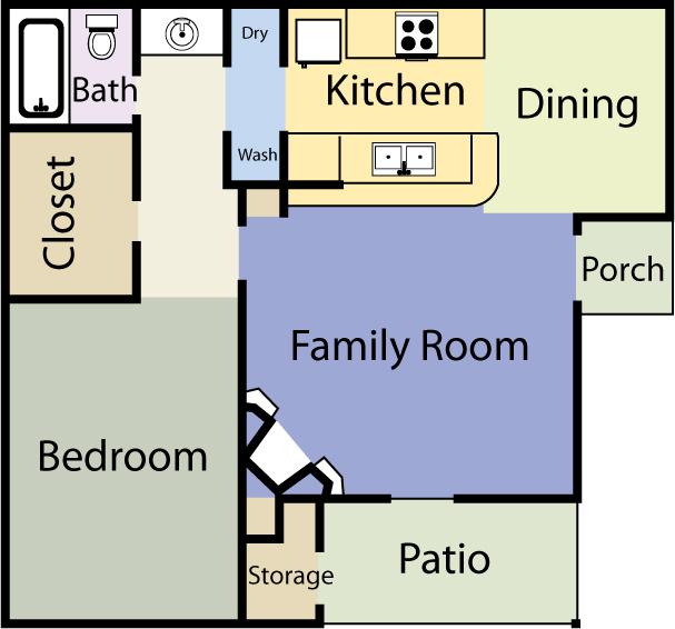 680 sq. ft. Hampton floor plan