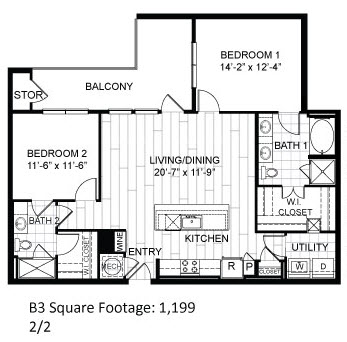 1,199 sq. ft. B3 floor plan