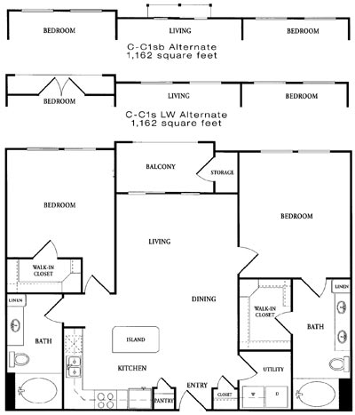1,074 sq. ft. A-C1 floor plan