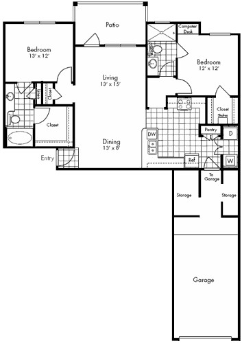 1,148 sq. ft. FRANKLIN floor plan