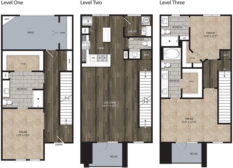 2,138 sq. ft. TH floor plan