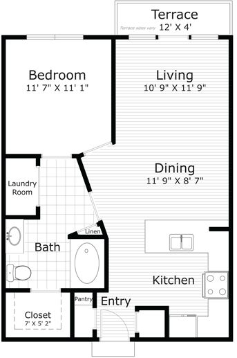 734 sq. ft. Monet (A3-1P) floor plan
