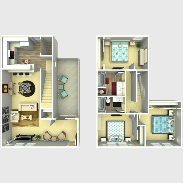 1,336 sq. ft. C2 floor plan