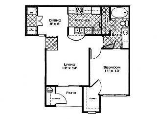 678 sq. ft. Azalea floor plan