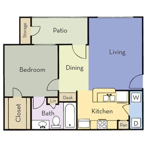 703 sq. ft. Plan A1A floor plan