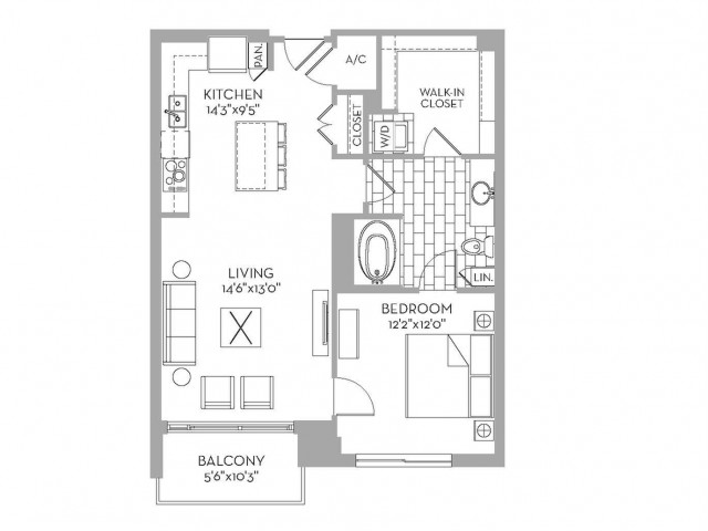 842 sq. ft. Douglas(A.3) floor plan