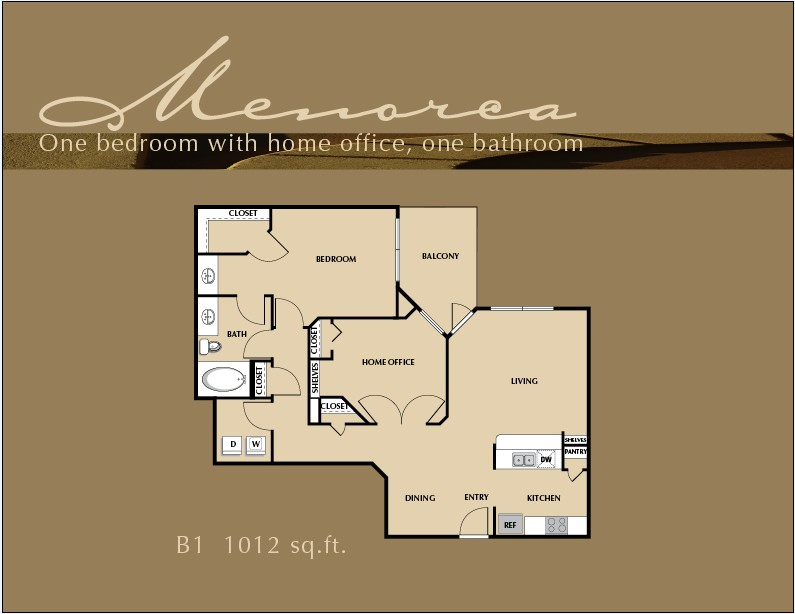 1,012 sq. ft. A8 floor plan