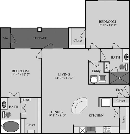 1,216 sq. ft. B4 floor plan