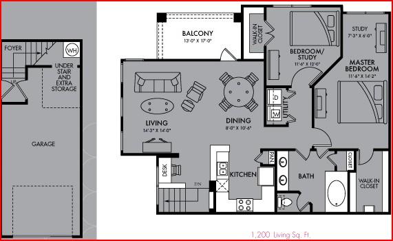1,200 sq. ft. Callisto floor plan