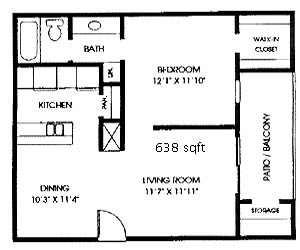 638 sq. ft. A2 floor plan