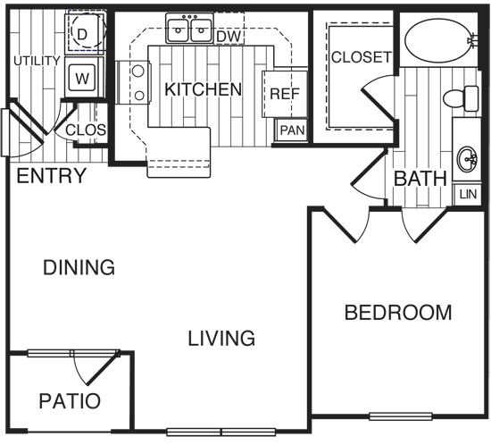 792 sq. ft. A3/Forest floor plan