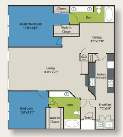 1,435 sq. ft. to 1,495 sq. ft. E3 floor plan