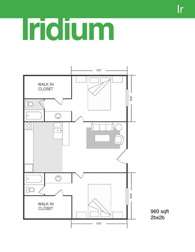 960 sq. ft. Iridium floor plan