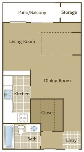 523 sq. ft. A floor plan