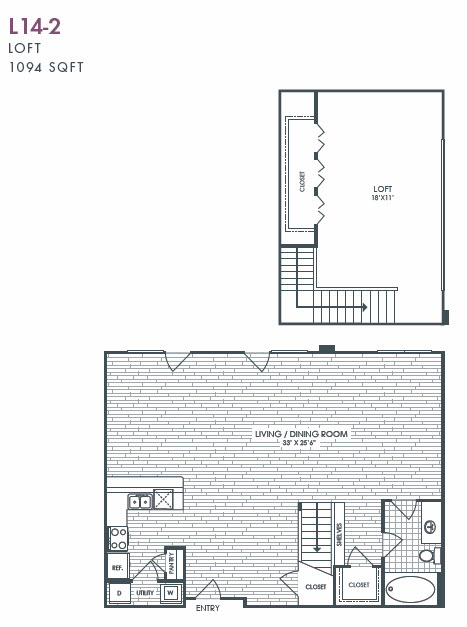 1,094 sq. ft. L14-2 floor plan