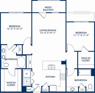 1,213 sq. ft. B1L floor plan