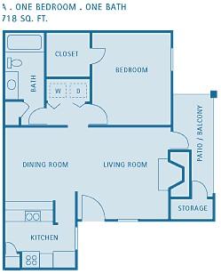 718 sq. ft. ASPEN floor plan