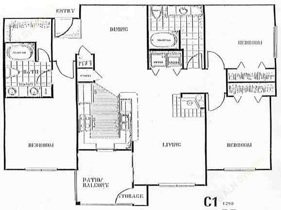1,390 sq. ft. to 1,488 sq. ft. H floor plan