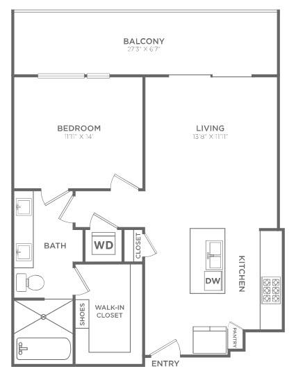 901 sq. ft. TA2 floor plan