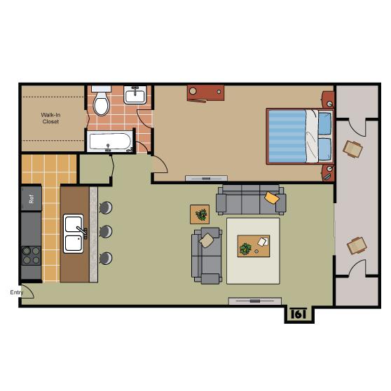 698 sq. ft. A1 Ph II floor plan