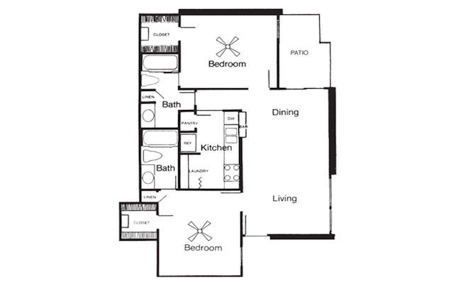 956 sq. ft. F floor plan