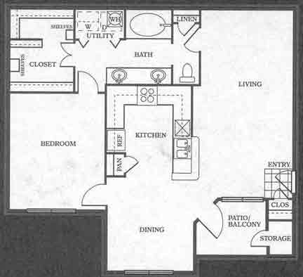 885 sq. ft. A5 floor plan