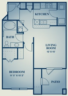 696 sq. ft. Zinfandel floor plan