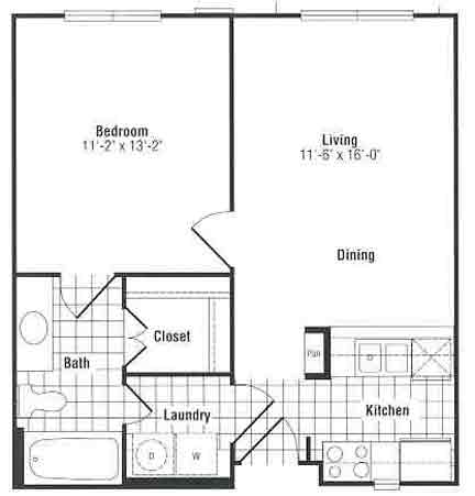 562 sq. ft. to 578 sq. ft. floor plan