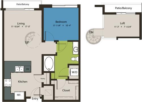 824 sq. ft. A1D-L1 floor plan
