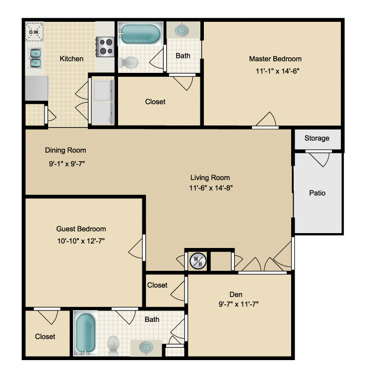 1,226 sq. ft. K floor plan