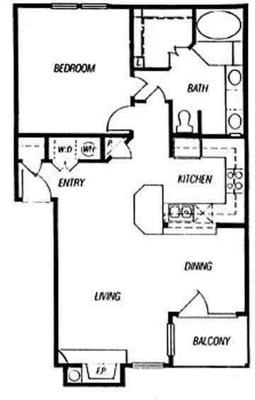 800 sq. ft. Alsace floor plan