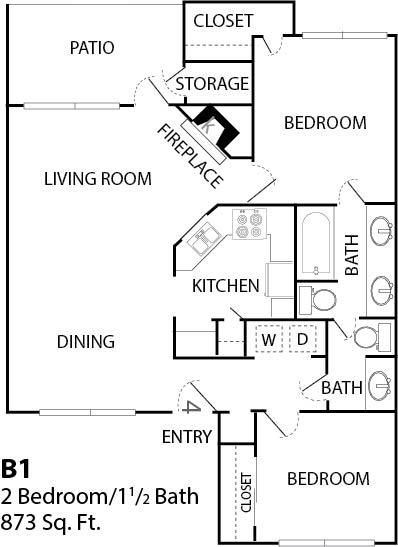 873 sq. ft. 2x1 floor plan