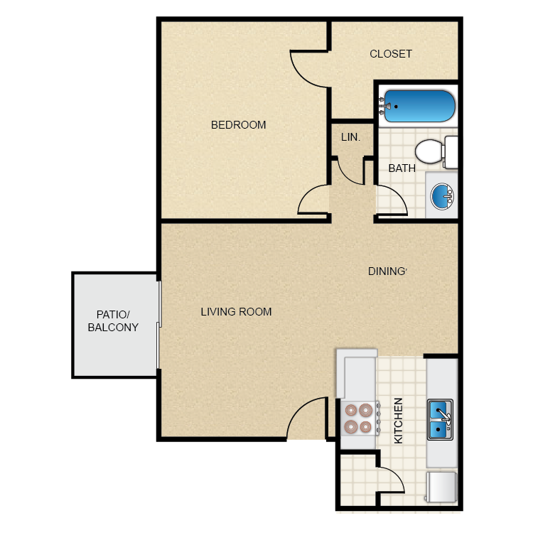 602 sq. ft. 1-1-A floor plan