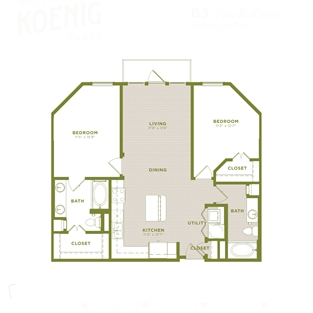 1,049 sq. ft. B3 floor plan