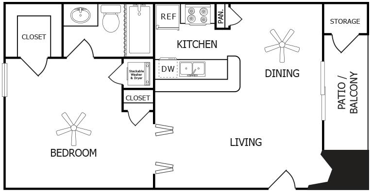 531 sq. ft. C floor plan