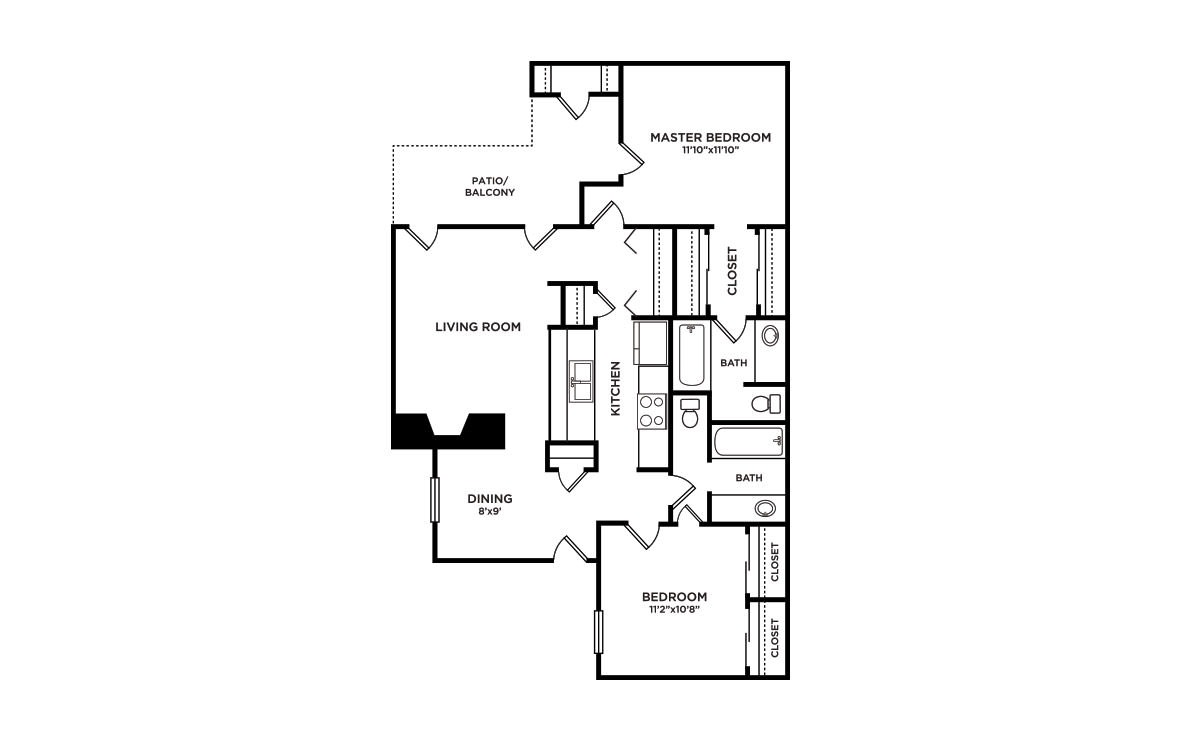 984 sq. ft. B1-Stowe floor plan