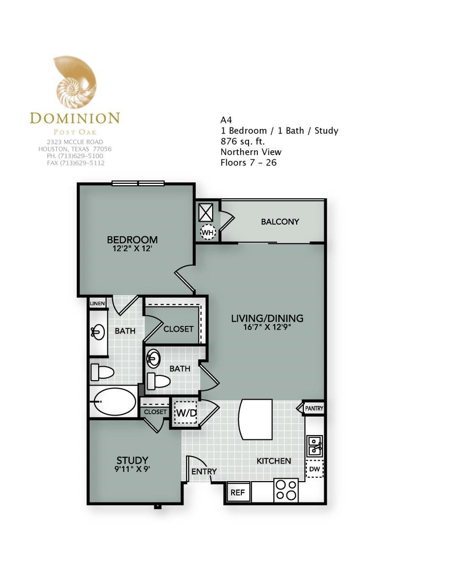 876 sq. ft. A4 floor plan