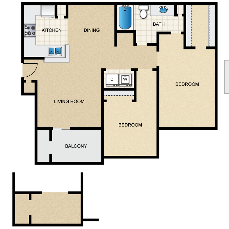 897 sq. ft. floor plan