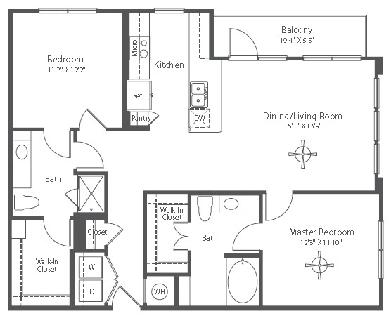 1,148 sq. ft. to 1,176 sq. ft. B2 floor plan