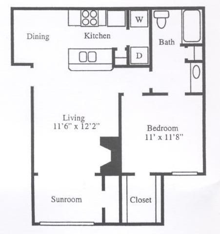 742 sq. ft. A2B floor plan