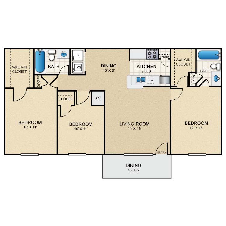1,176 sq. ft. B40 floor plan