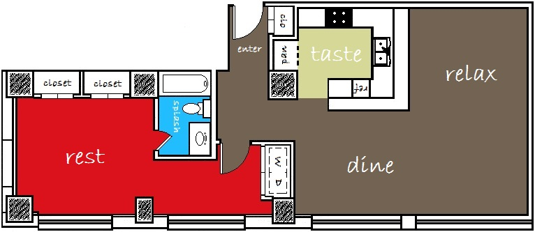 580 sq. ft. to 650 sq. ft. floor plan